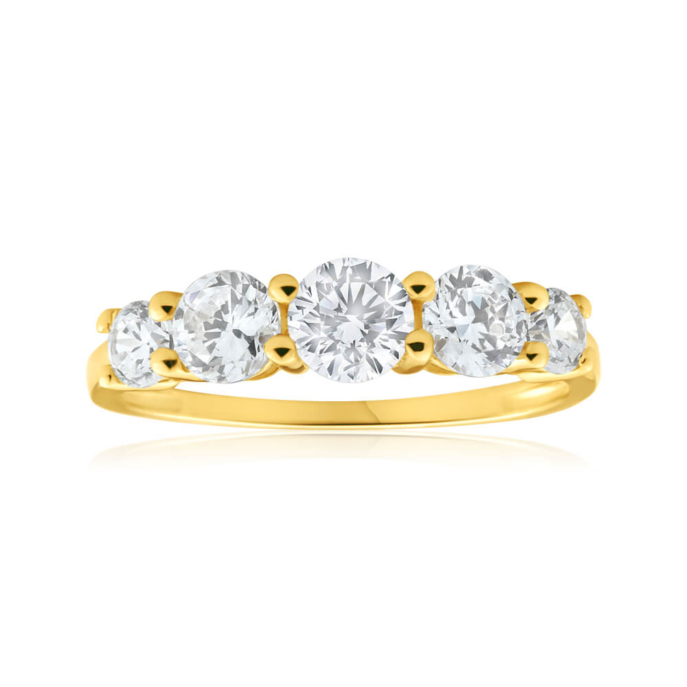 9ct Yellow Gold Cubic Zirconia 5 Stone Graduated Ring