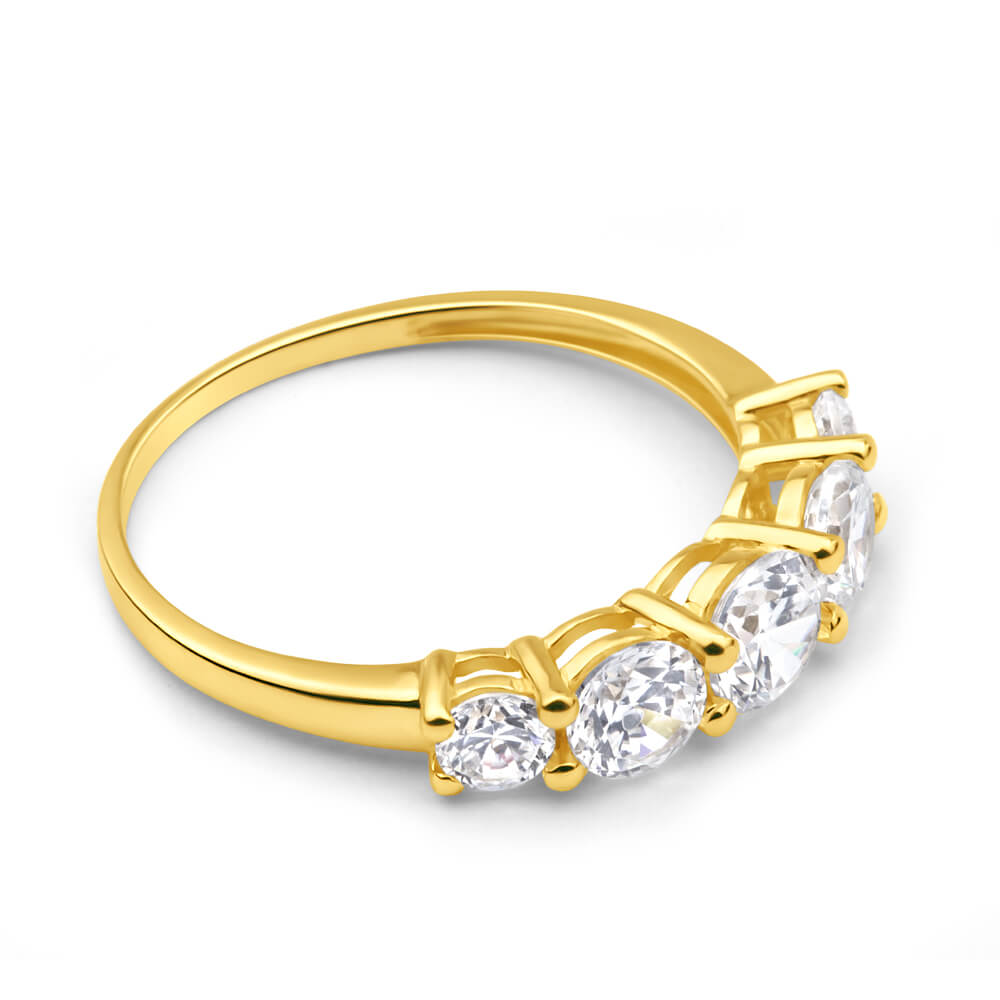 9ct Yellow Gold Cubic Zirconia 5 Stone Graduated Ring
