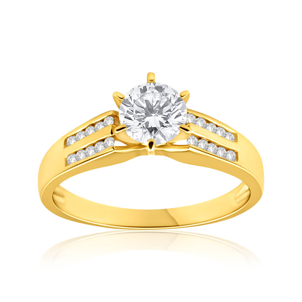 9ct Yellow Gold 6mm Solitaire and Channel Set Cubic Zirconia Ring