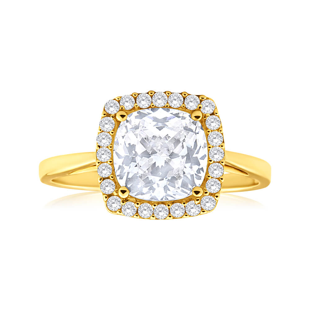 9ct Alluring Yellow Gold Cubic Zirconia Ring