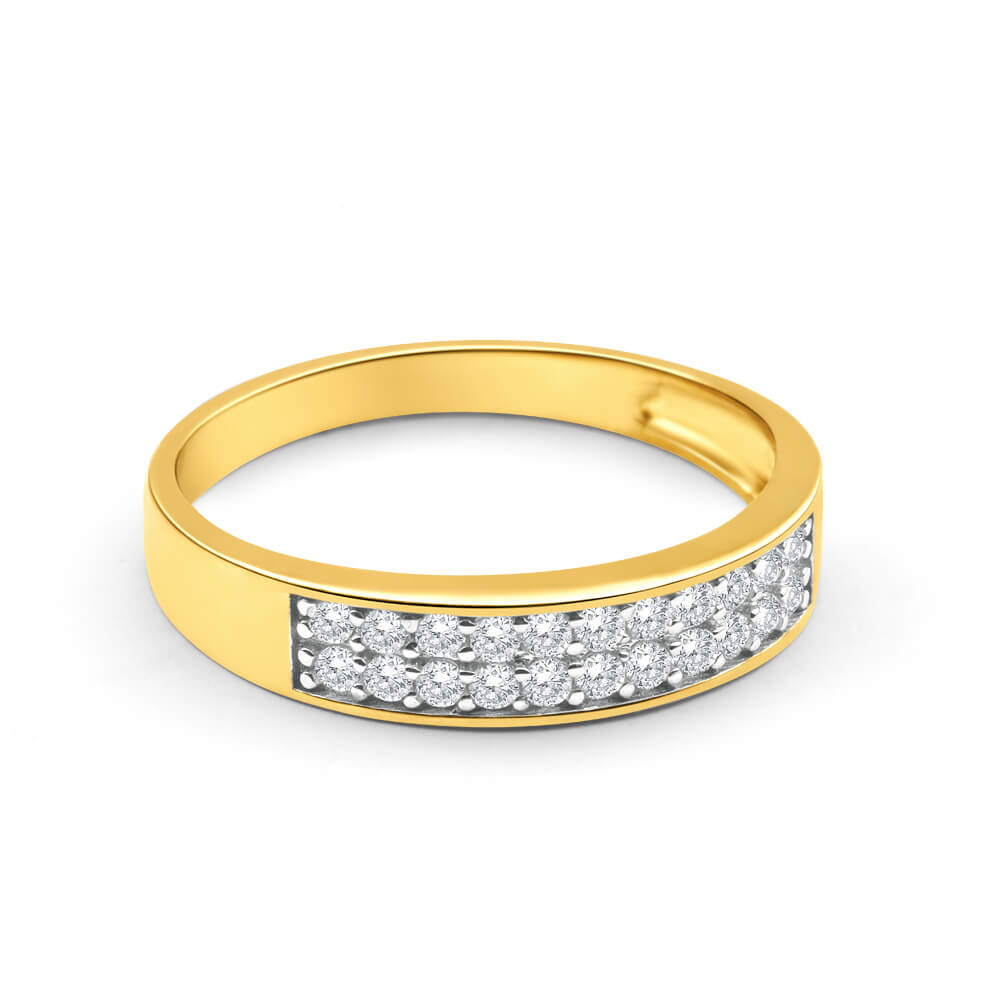 9ct Yellow Gold Cubic Zirconia 2 Row Pave Ring