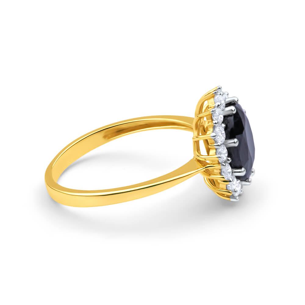 9ct Yellow Gold Natural Sapphire + Zirconia Ring