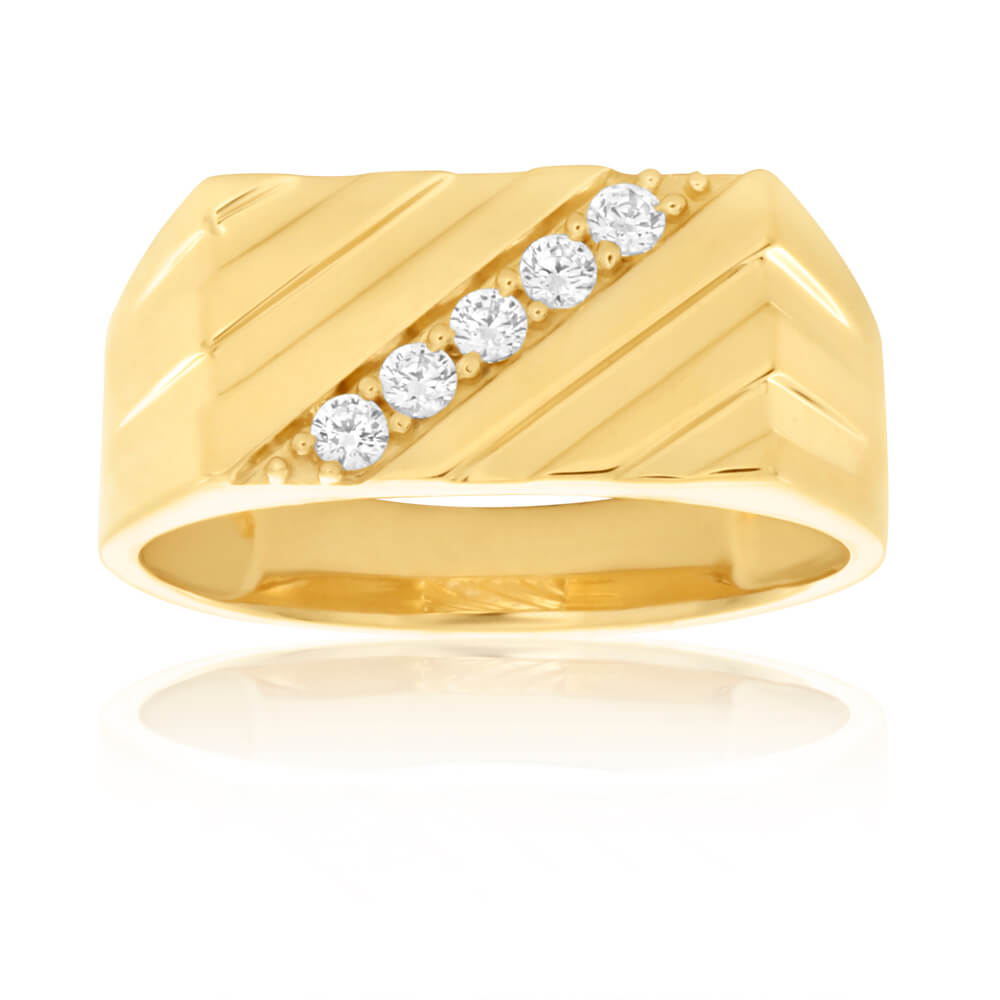 9ct Yellow Gold Diagonal Channel Set Cubic Zirconia Gents Ring