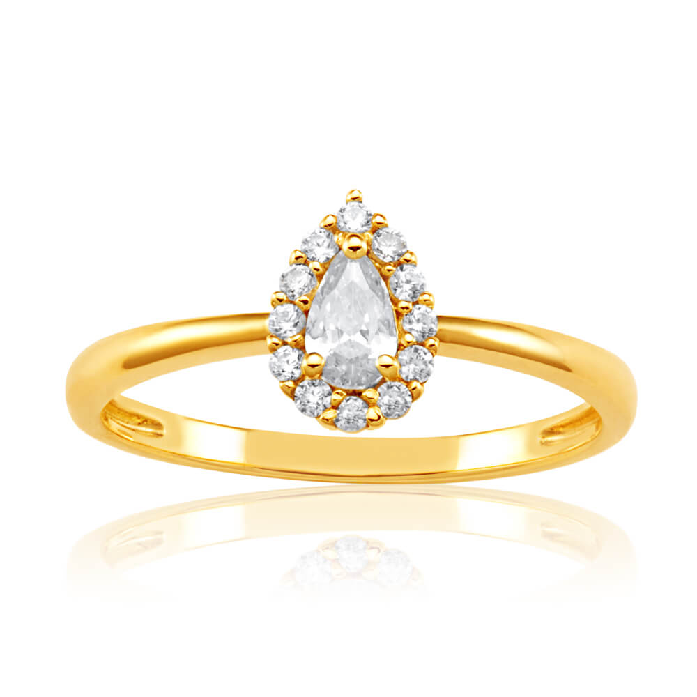 9ct Yellow Gold Pear Shaped Cubic Zirconia Halo Ring