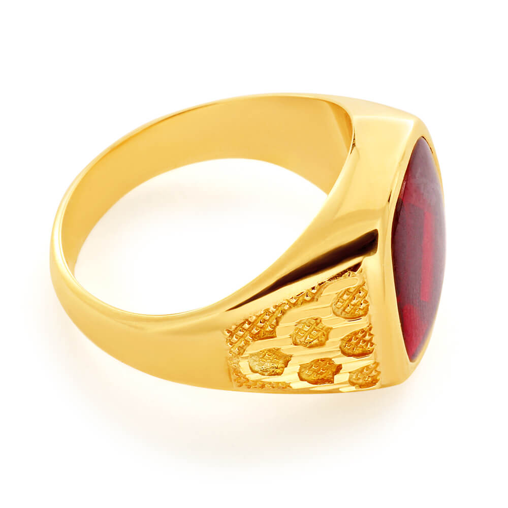 9ct Yellow Gold Created Garnet 14x12mm Gents Ring