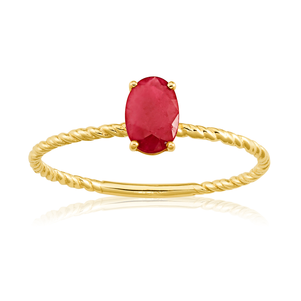 9ct Yellow Gold Natural Ruby Ring