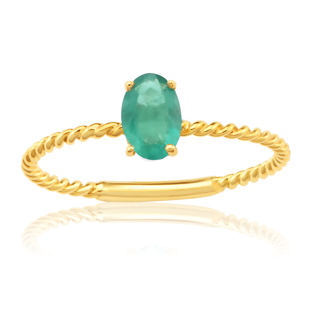 9ct Yellow Gold Natural Emerald Ring