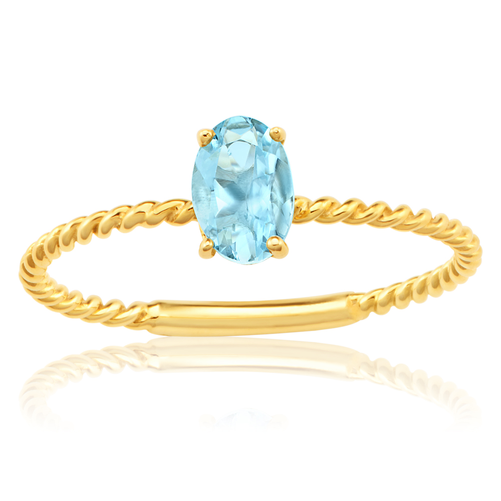 9ct Yellow Gold Natural Aquamarine Ring