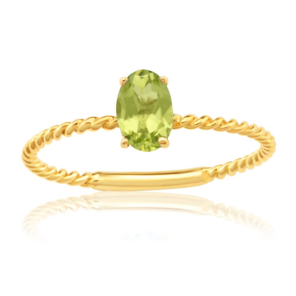 9ct Yellow Gold Natural Peridot Ring