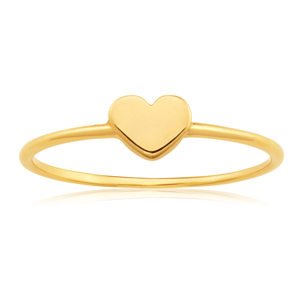 9ct Yellow Gold Heart Shape Ring