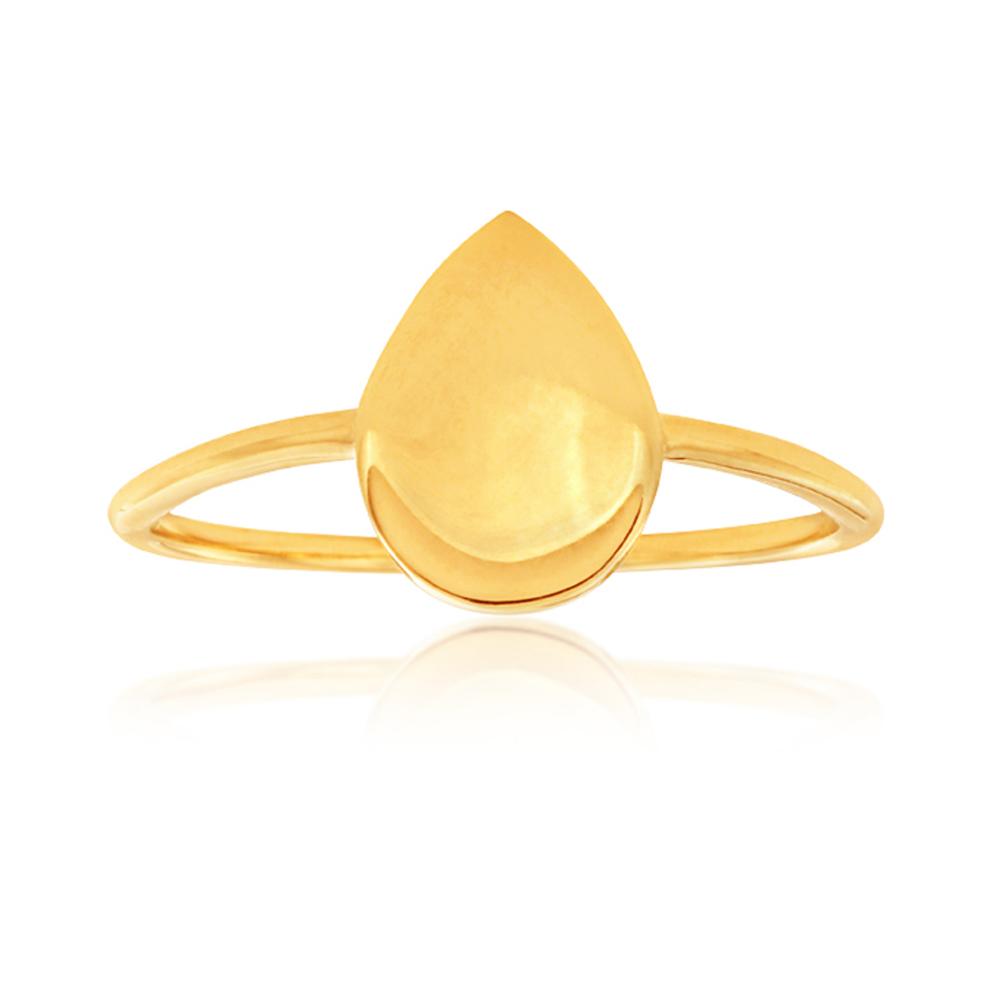 9ct Yellow Gold Pear Shape Plain Ring