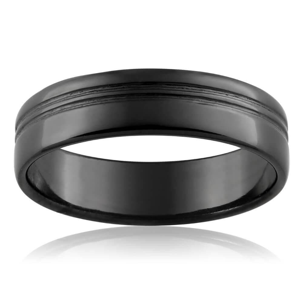 Zirconium 6mm Gents Groove Ring Size T/U/X/Z