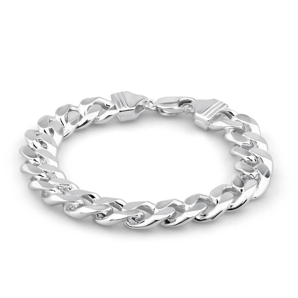 Sterling Silver 350 Gauge Diamond Cut 23cm Curb Bracelet