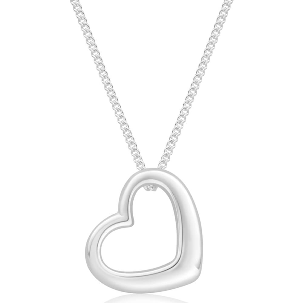 Sterling Silver Open Heart Pendant With 45cm Chain