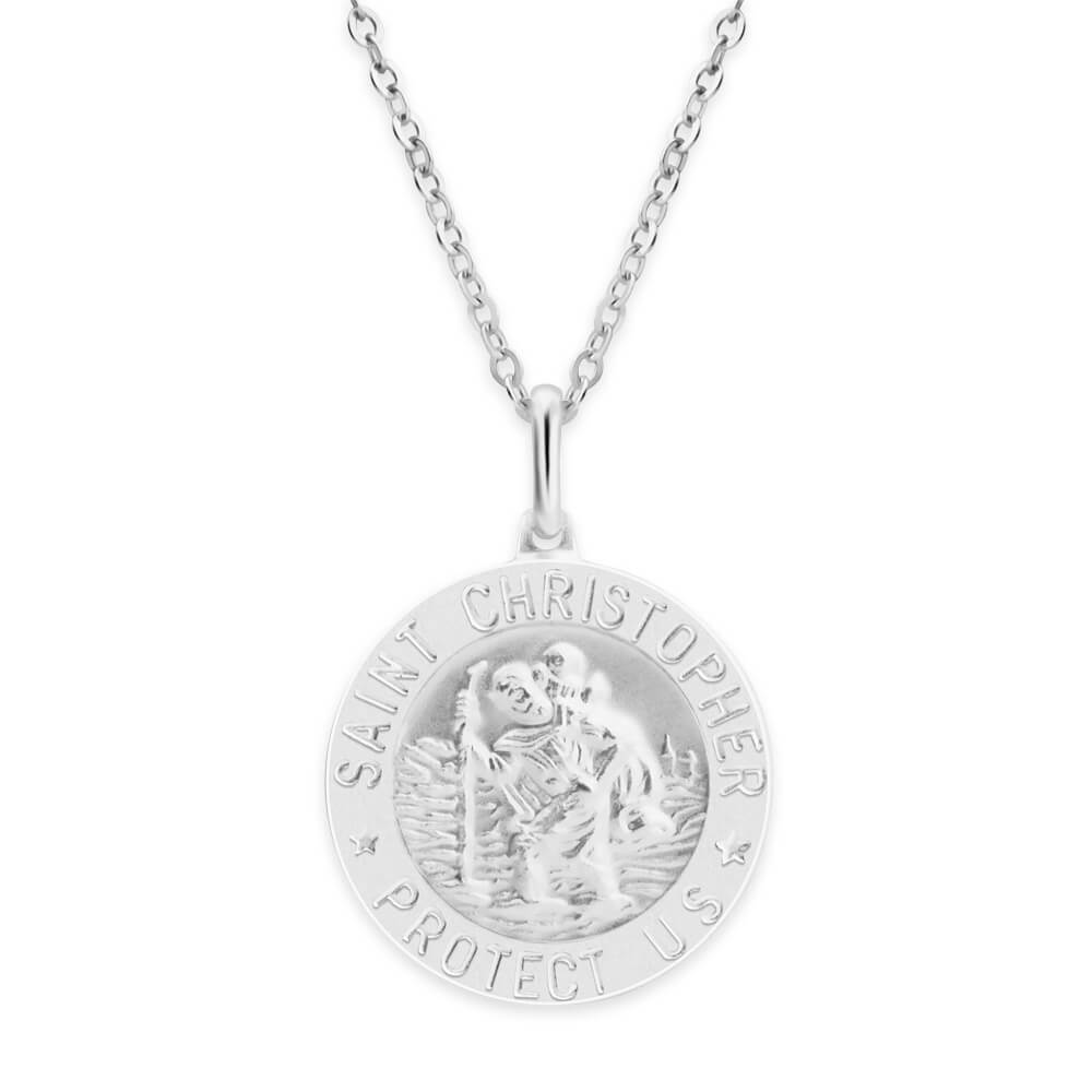 Sterling Silver Saint Christopher 20mm Pendant
