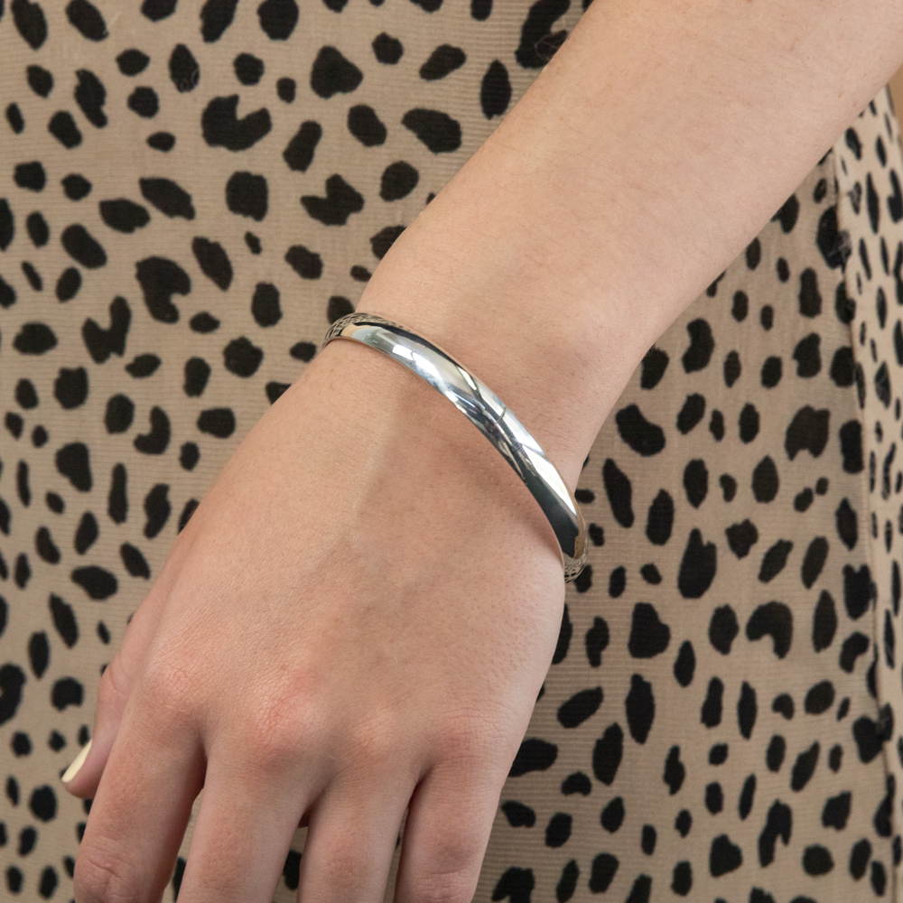 Solid Sterling Silver Plain 8mm Golf 70mm Bangle