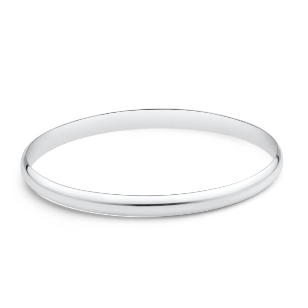 Solid Sterling Silver Plain 6mm Golf 70mm Bangle