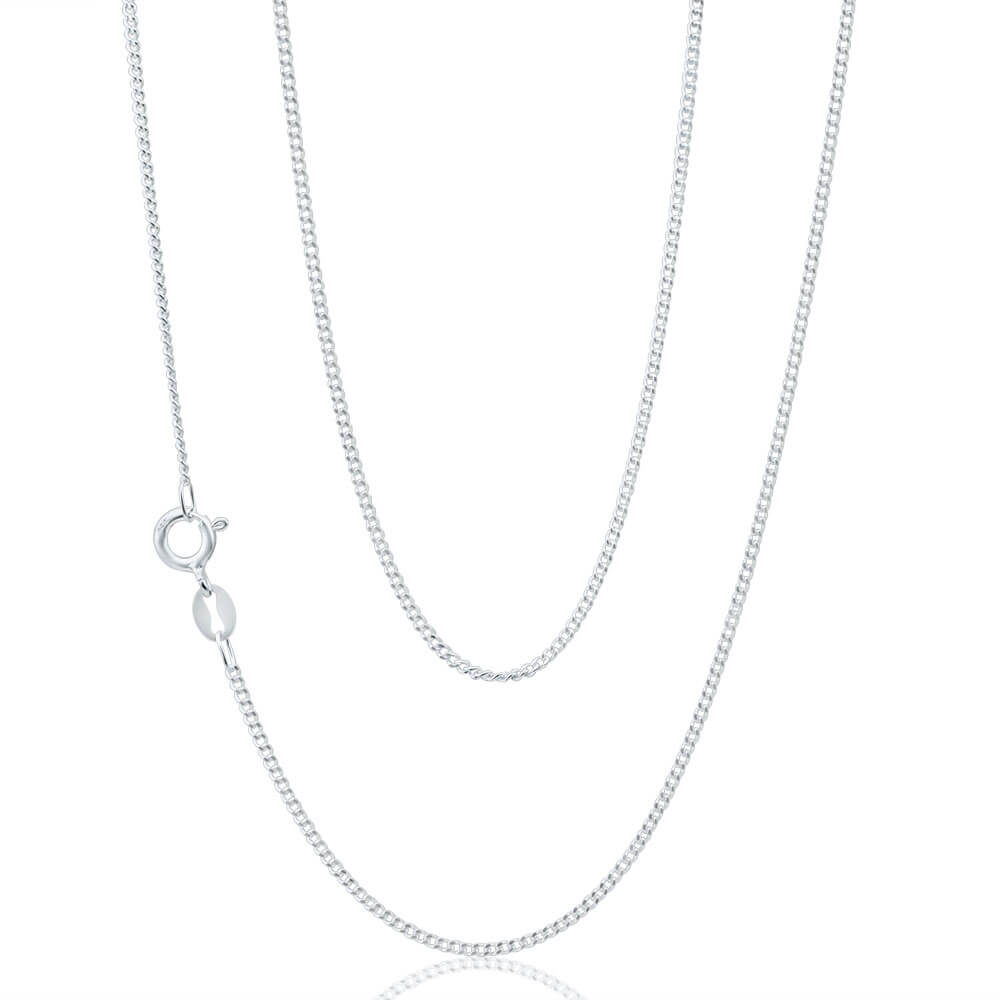 Sterling Silver Curb Dicut 40 Gauge 45cm Chain