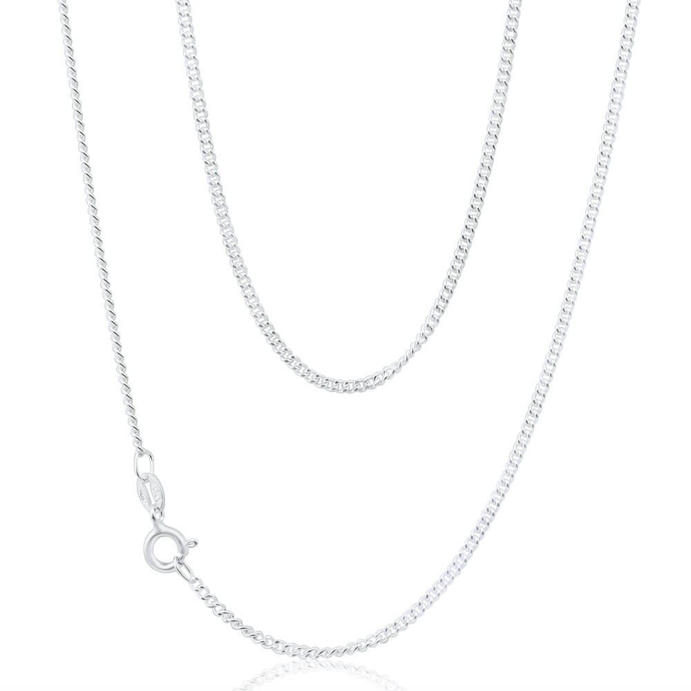 Sterling Silver Curb Link 50 Gauge Chain 45cm