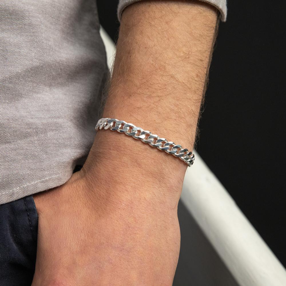 Sterling Silver Heavy 200 Gauge Curb Bracelet 21cm