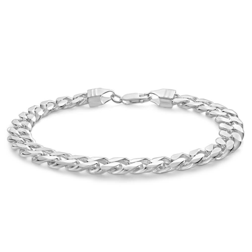 Sterling Silver Curb 210 Gauge Bracelet 23cm