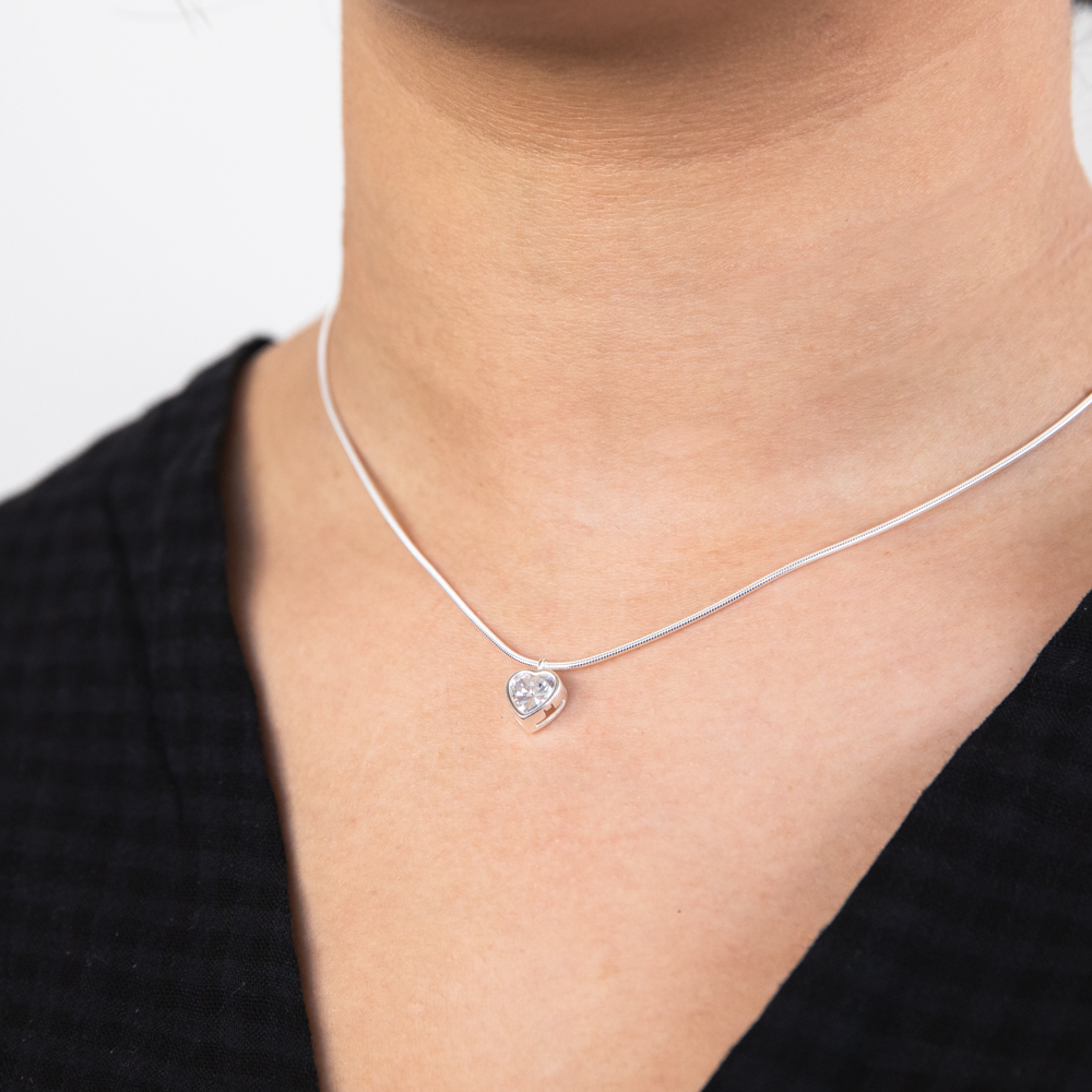 Sterling Silver White Cubic Zirconia Heart Pendant with 40cm Snake Chain