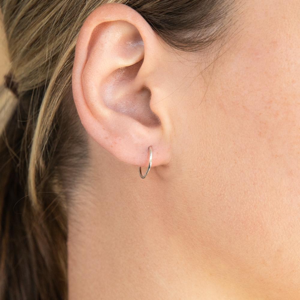 Sterling Silver Plain 10mm Sleeper Earrings