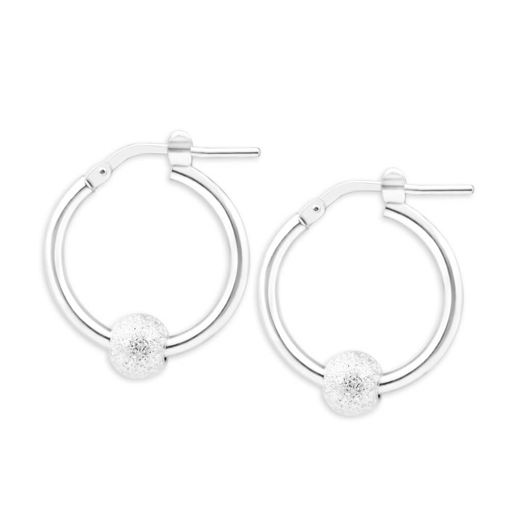 Sterling Silver Stardust Ball Hoop Earrings 20mm