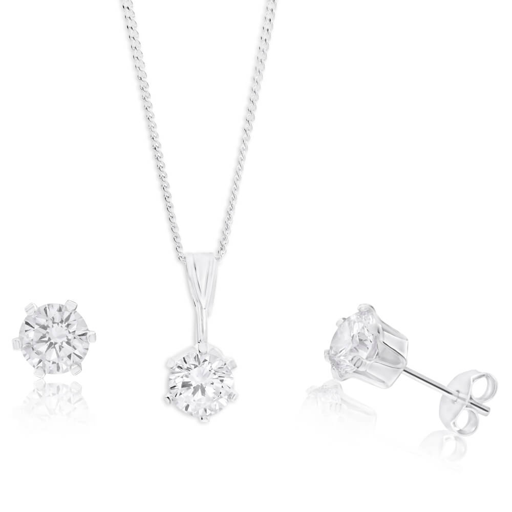 Sterling Silver 6mm Zirconia Pendant and Earring Set with Chain