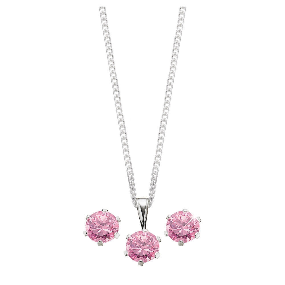 Sterling Silver Pink Cubic Zirconia Stud Earrings and Pendant on Chain Set