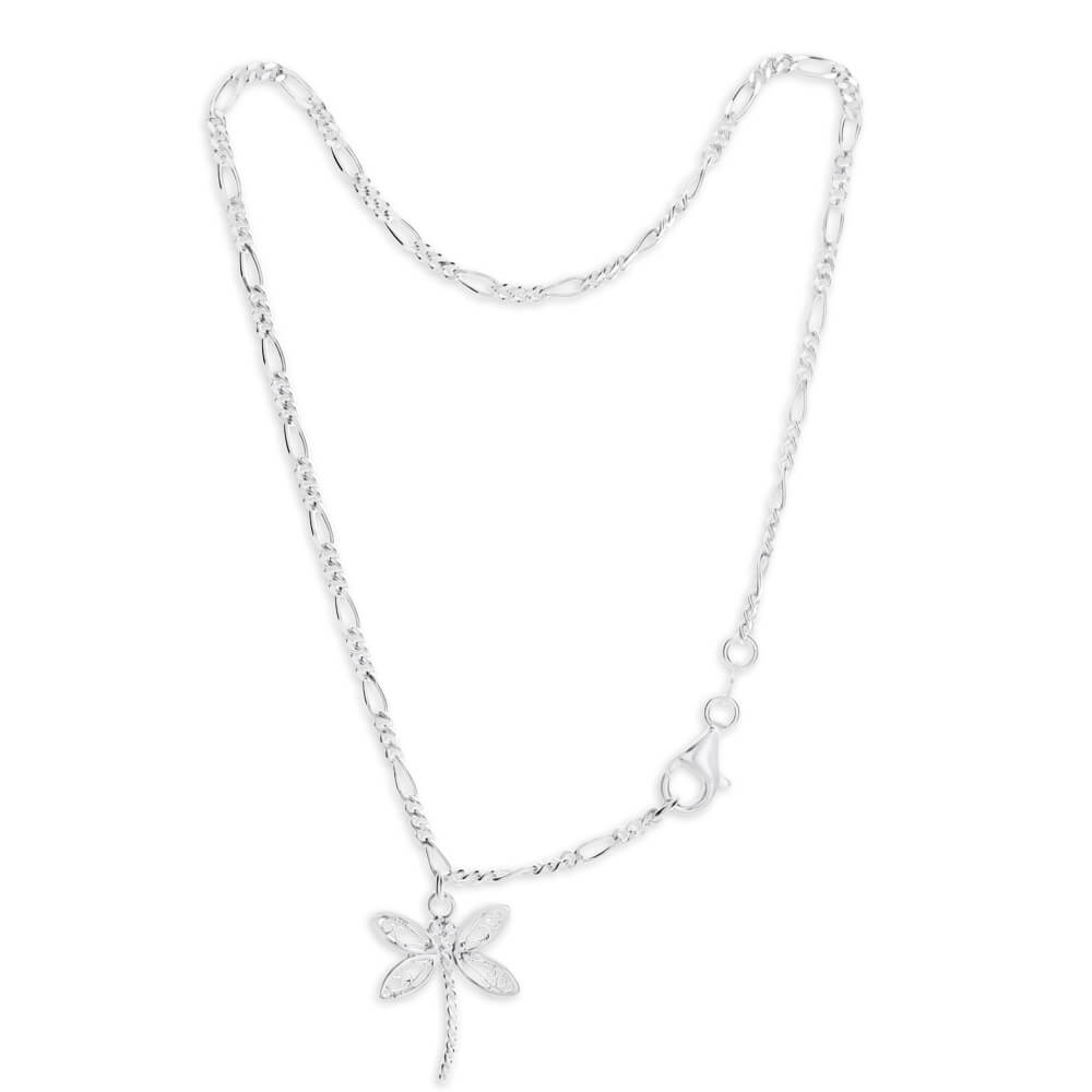 Sterling Silver Figaro 1:3 Dragonfly Anklet