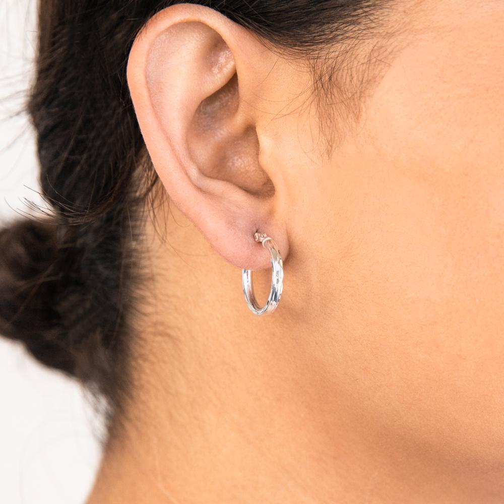 Sterling Silver 18mm Fancy Hoop Earrings