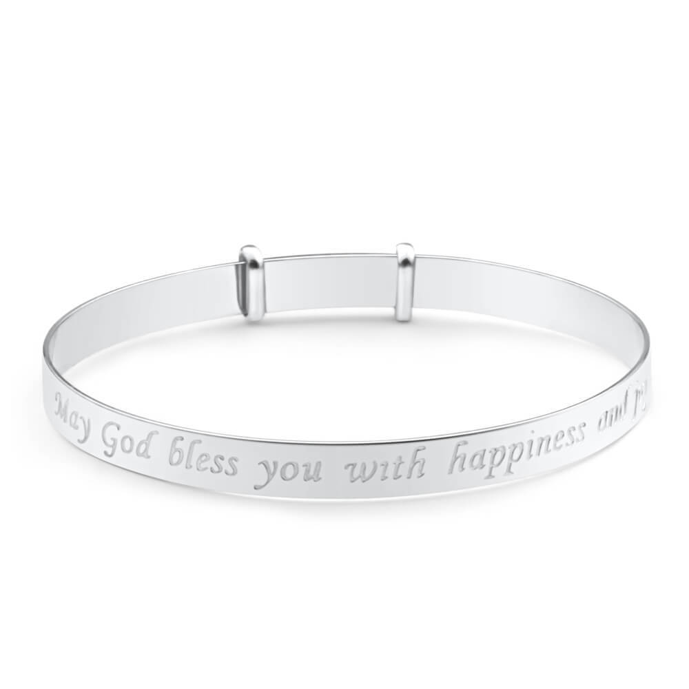 Sterling Silver Baby Psalm Bangle Expandable 40mm