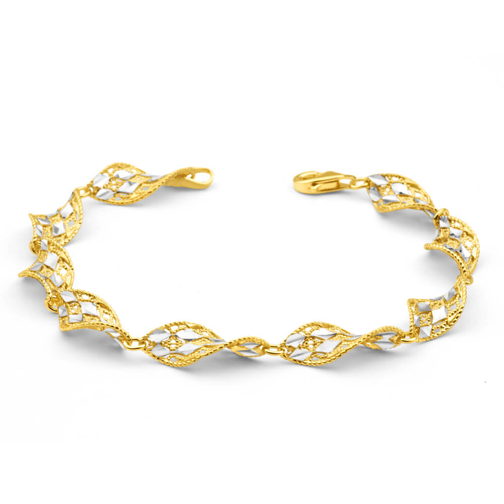 Gold Plated Sterling Silver Fancy Twist Link 19cm Bracelet