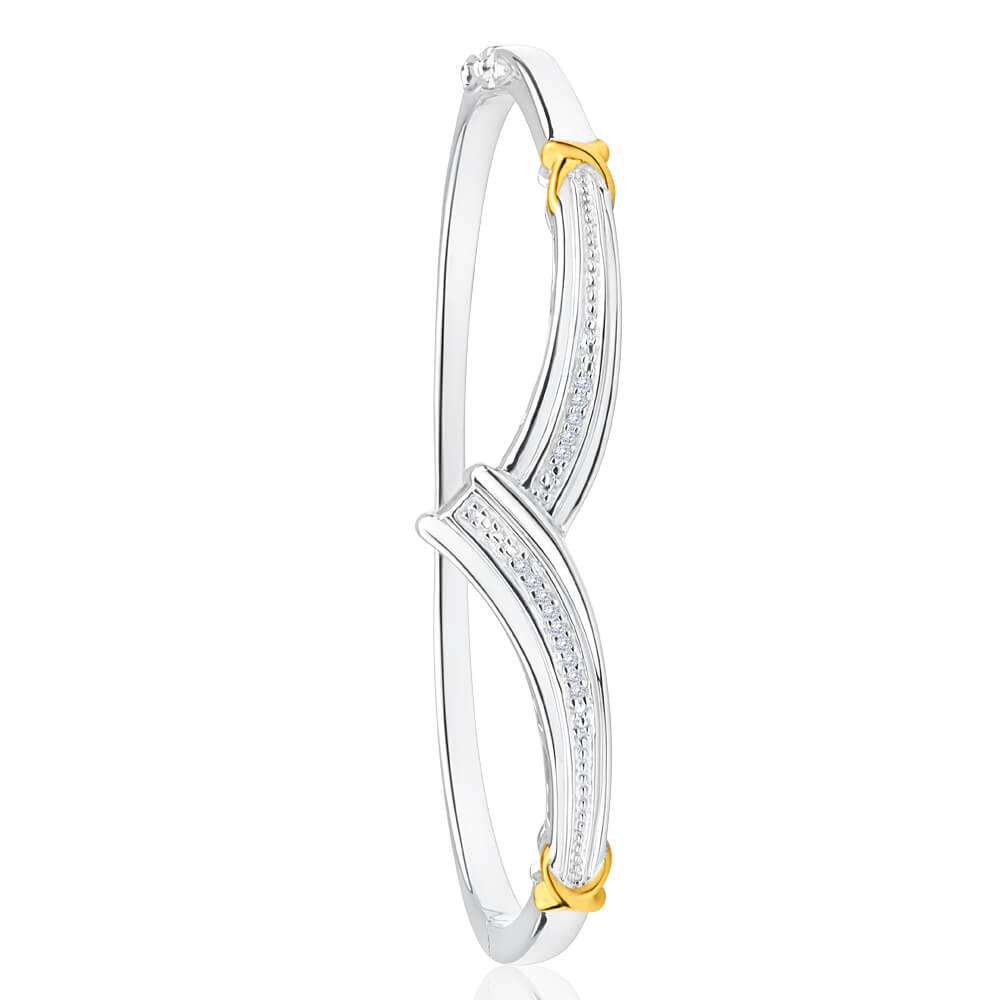 Sterling Silver Diamond Bead Bangle