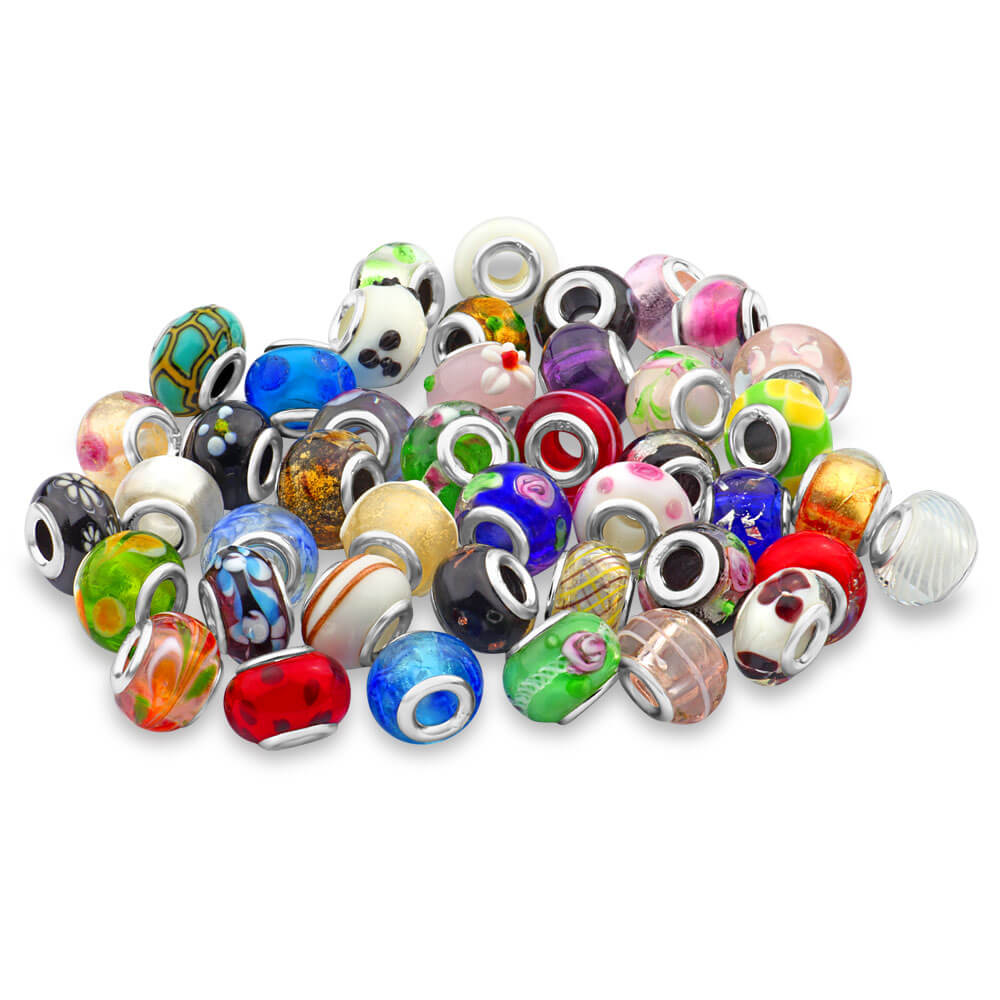 Amadora Sterling Silver Assorted Glass Beads