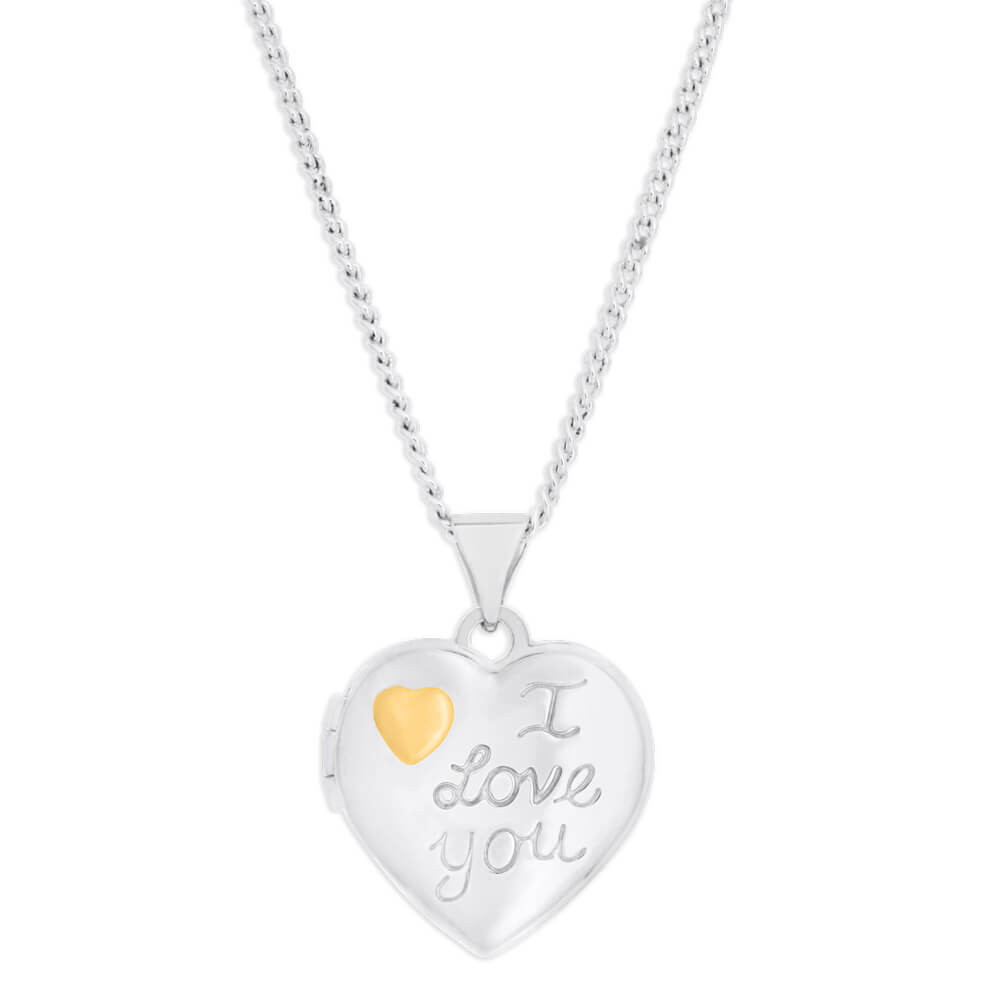 Sterling Silver Gold Plated Heart I Love You Locket
