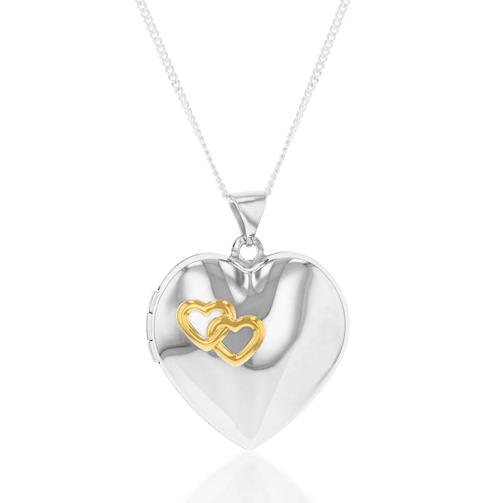 "Sterling Silver and Gold Plated Hearts Locket (Engraved ""Together Forever"")"