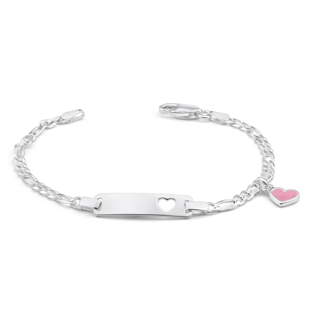 Sterling Silver Pink Enamel Heart ID Bracelet 17cm