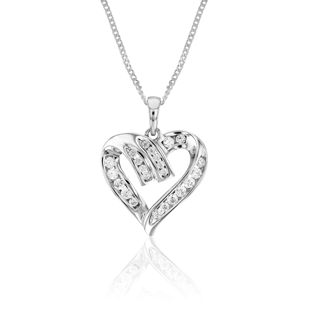 Sterling Silver Zirconia Channel Heart Pendant