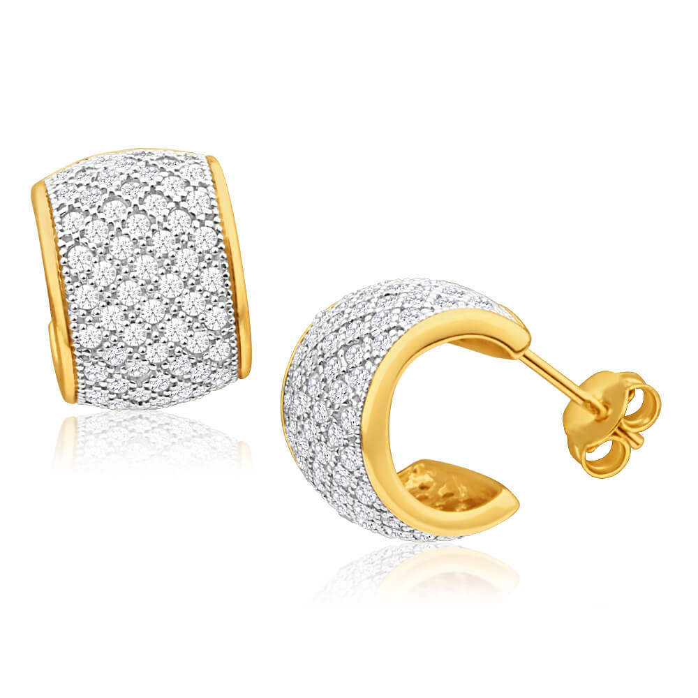 Gold Plated Sterling Silver Zirconia Half Hoop 9mm Stud Earrings