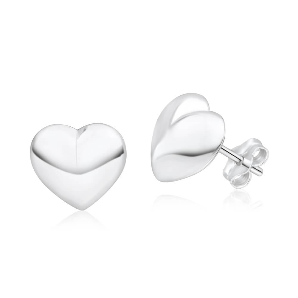 Sterling Silver Puff Heart Stud Earrings