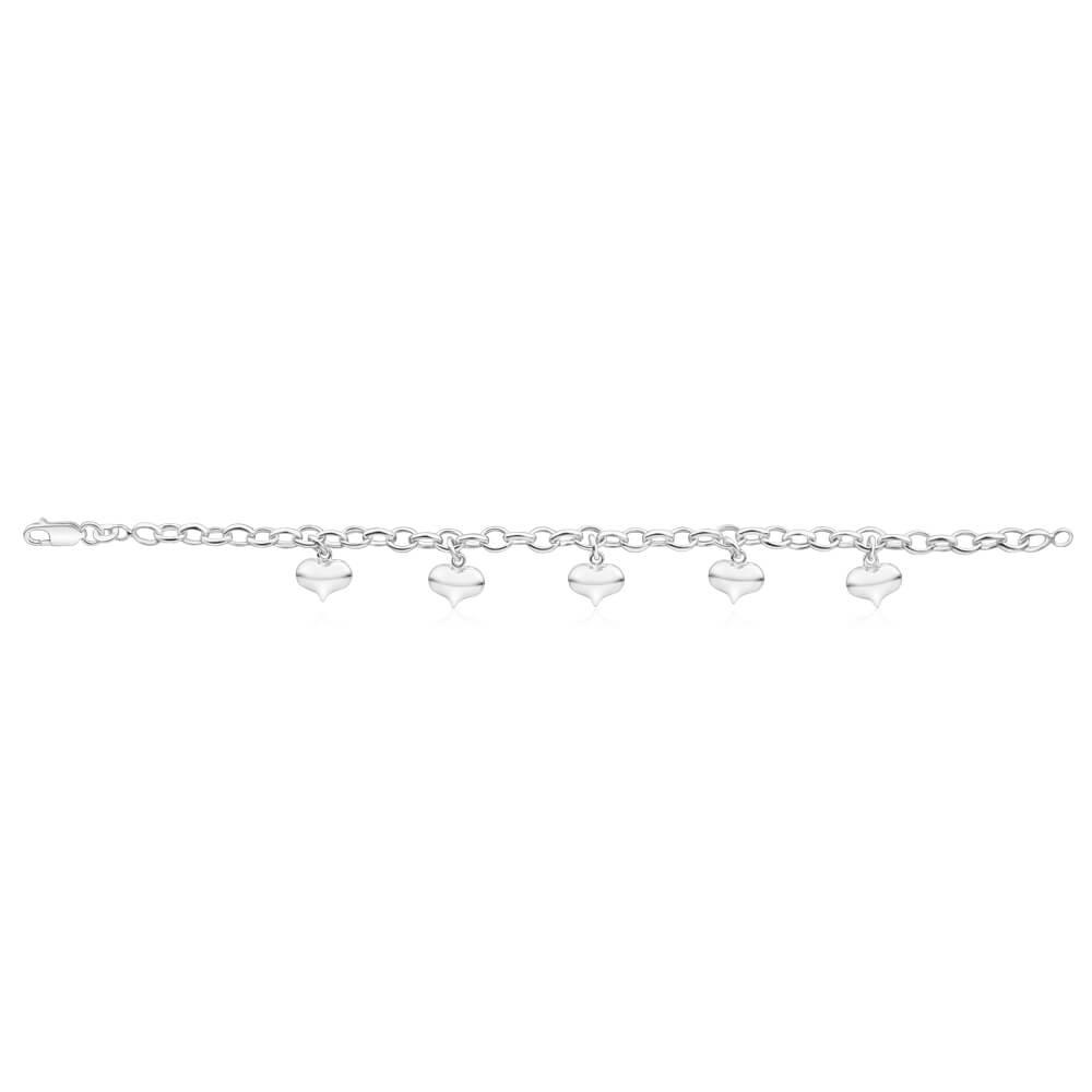 Sterling Silver 5 Heart Charms 19cm Belcher Bracelet