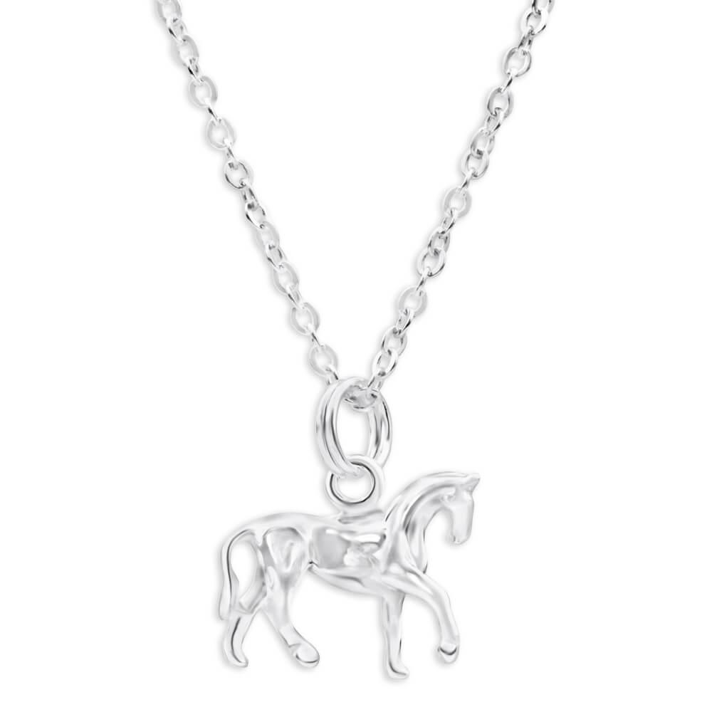 Sterling Silver Oxidised Prancing Horse Pendant