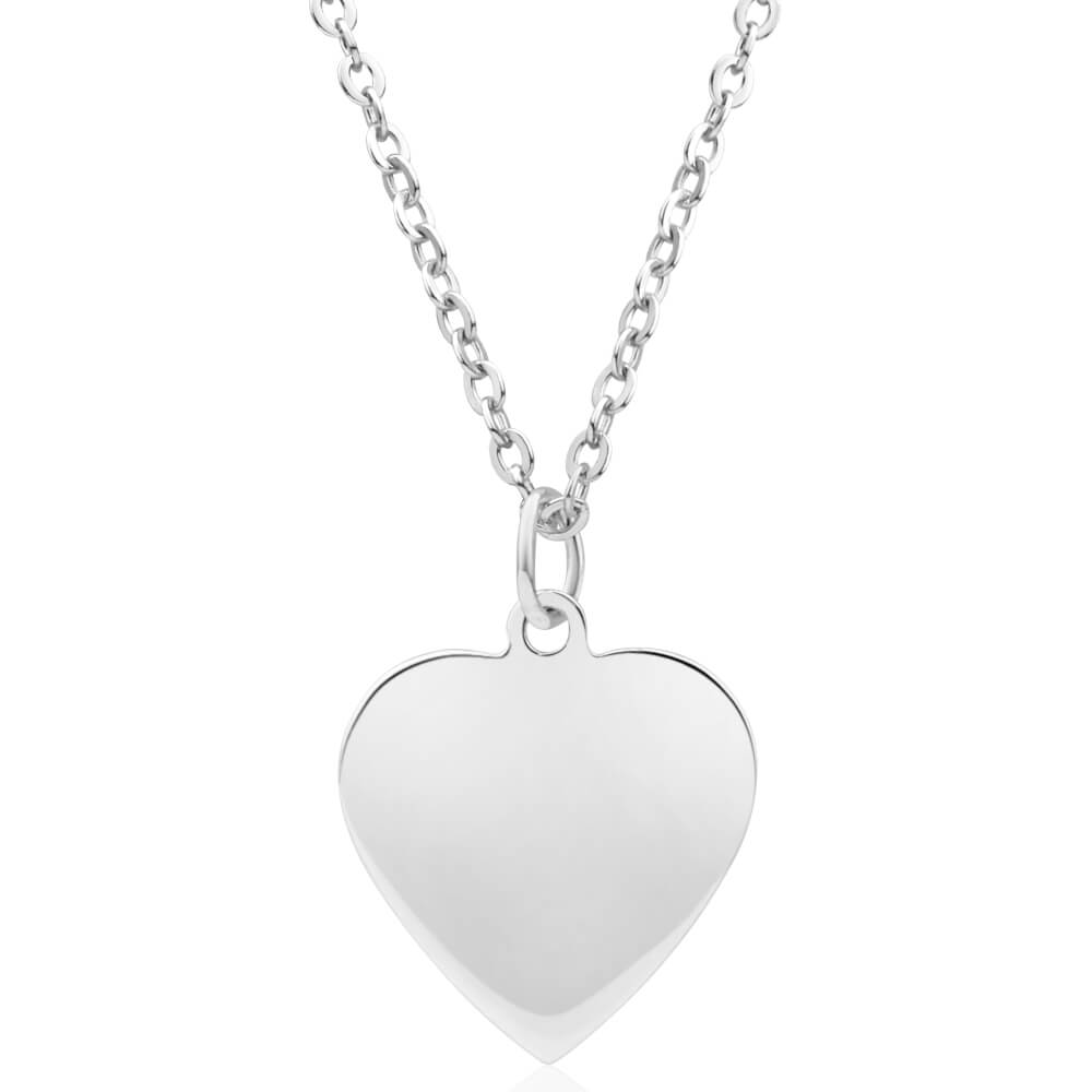 Sterling Silver 15mm Flat Heart Pendant