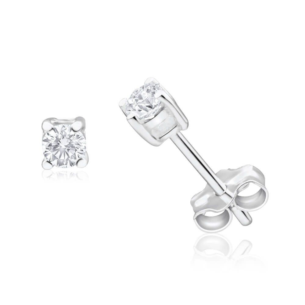 Sterling Silver Zirconia 3mm Claw Stud Earrings