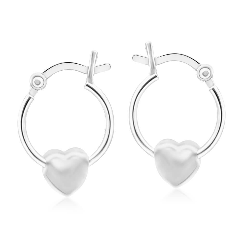 Sterling Silver Floating Heart Hoop Earrings