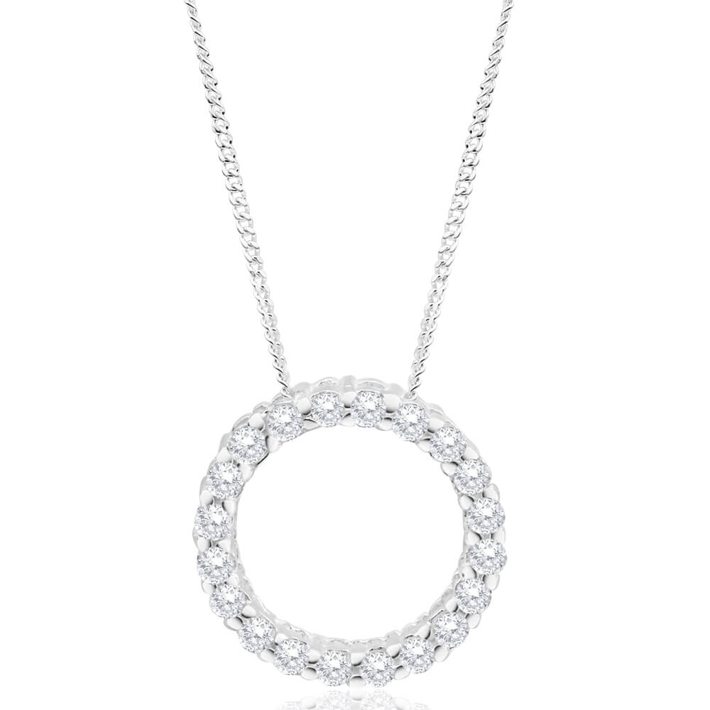 Sterling Silver Cubic Zirconia Circle Of Life Pendant With 50cm Chain