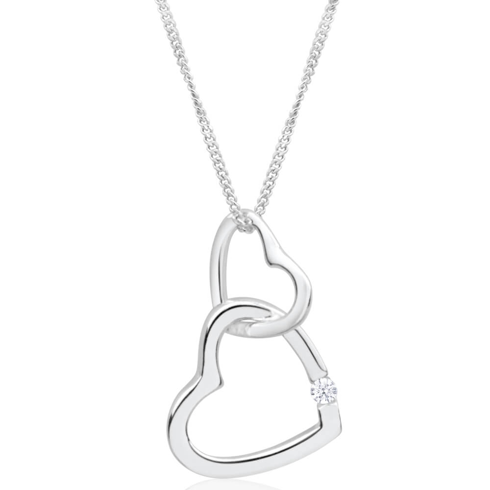 Sterling Silver Cubic Zirconia Double Open Heart Pendant With 45cm Chain