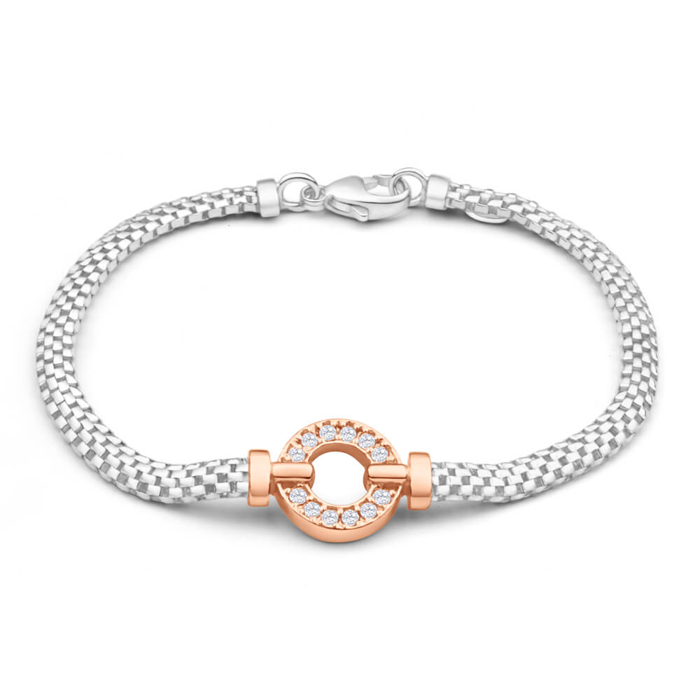 Sterling Silver Rhodium and Rose Gold Plated Cubic Zirconia Bracelet
